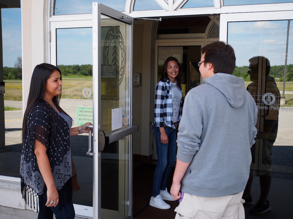 Students entering the Six Nations Polytechnic building